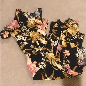 Black floral dress, pink and gold & ivory flowers